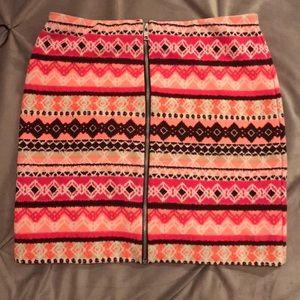Forever 21 bright patterned skirt w/ front zipper